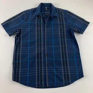 Oakley Blue Cotton Plaid Casual Button Down M